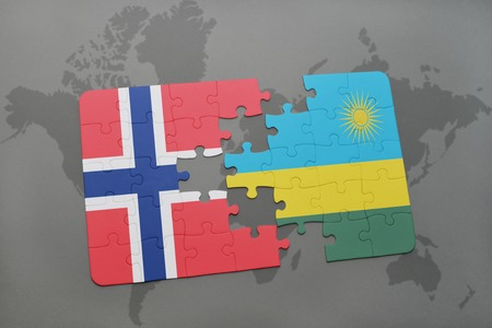 kigali: puzzle with the national flag of norway and rwanda on a world map background. 3D illustration Stock Photo