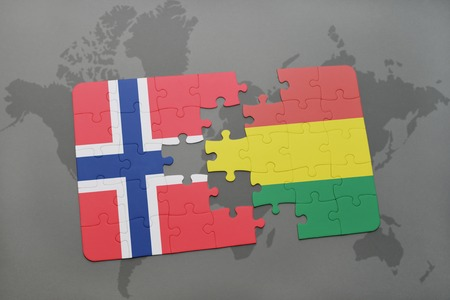 norway flag: puzzle with the national flag of norway and bolivia on a world map background. 3D illustration