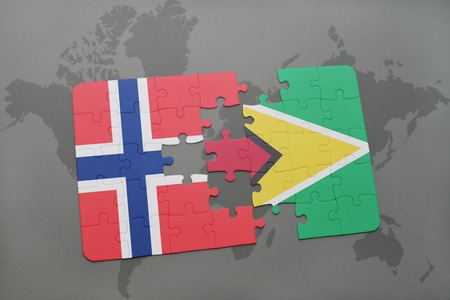 guyanese: puzzle with the national flag of norway and guyana on a world map background. 3D illustration