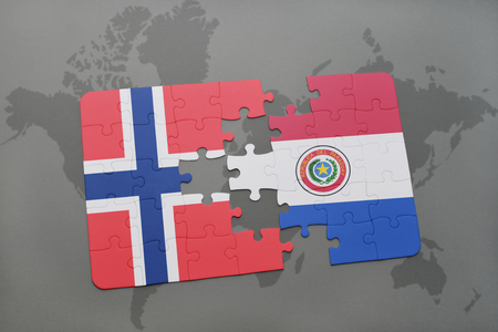 norway flag: puzzle with the national flag of norway and paraguay on a world map background. 3D illustration