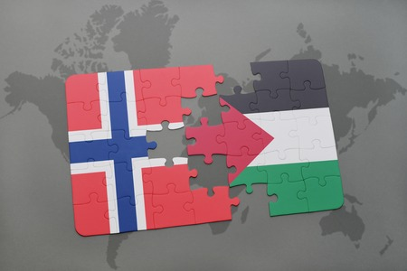 norway flag: puzzle with the national flag of norway and palestine on a world map background. 3D illustration