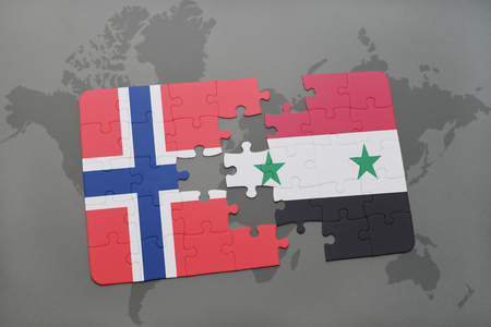 norway flag: puzzle with the national flag of norway and syria on a world map background. 3D illustration Stock Photo