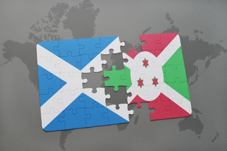 puzzle with the national flag of scotland and burundi on a world map background. 3D illustration