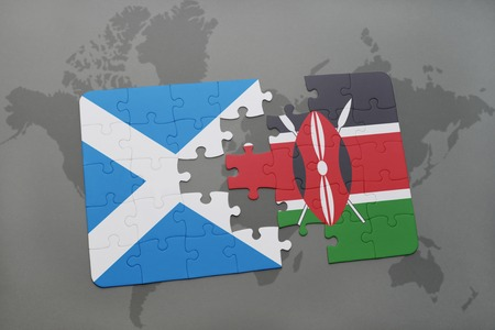 puzzle with the national flag of scotland and kenya on a world map background. 3D illustration Archivio Fotografico