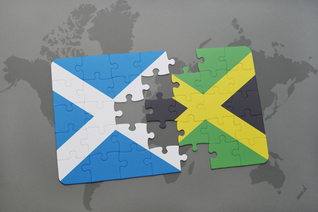 kingston: puzzle with the national flag of scotland and jamaica on a world map background. 3D illustration
