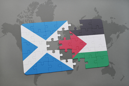 puzzle with the national flag of scotland and palestine on a world map background. 3D illustration