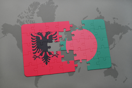 puzzle with the national flag of albania and bangladesh on a world map background. 3D illustration Stock Photo
