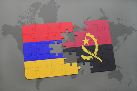 puzzle with the national flag of armenia and angola on a world map background. 3D illustration Stock Photo