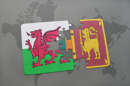 ceylon: puzzle with the national flag of wales and sri lanka on a world map background. 3D illustration Stock Photo
