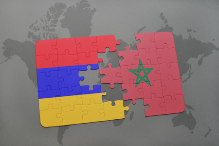 puzzle with the national flag of armenia and morocco on a world map background. 3D illustration