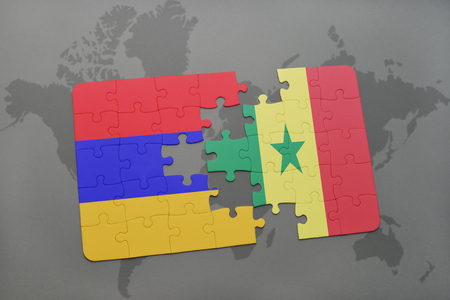puzzle with the national flag of armenia and senegal on a world map background. 3D illustration