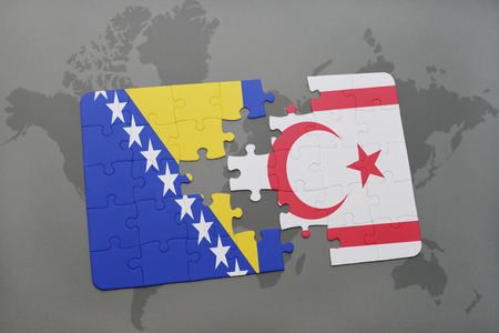 puzzle with the national flag of bosnia and herzegovina and northern cyprus on a world map background. 3D illustration Stock Photo