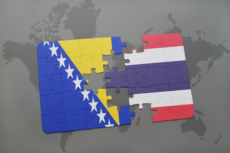 puzzle with the national flag of bosnia and herzegovina and thailand on a world map background. 3D illustration