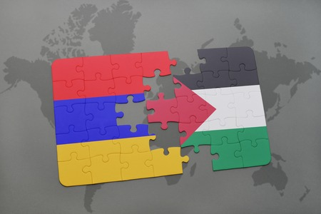 puzzle with the national flag of armenia and palestine on a world map background. 3D illustration