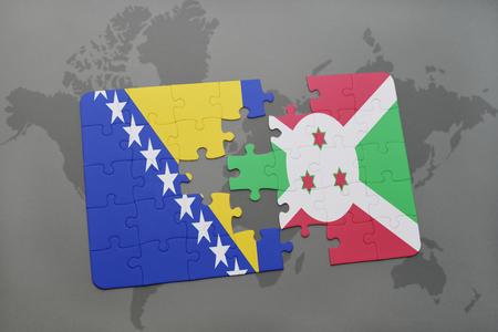 puzzle with the national flag of bosnia and herzegovina and burundi on a world map background. 3D illustration