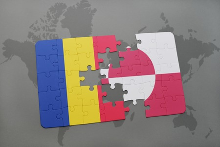 danish flag: puzzle with the national flag of romania and greenland on a world map background. 3D illustration