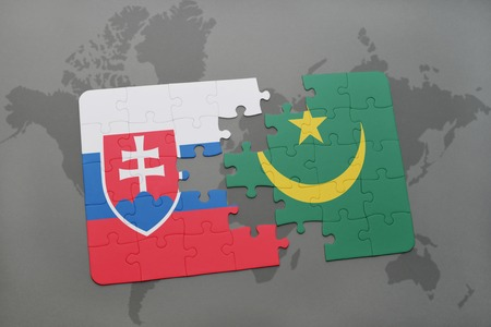 mauritania: puzzle with the national flag of slovakia and mauritania on a world map background. 3D illustration