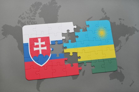 kigali: puzzle with the national flag of slovakia and rwanda on a world map background. 3D illustration Stock Photo