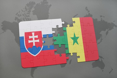 dakar: puzzle with the national flag of slovakia and senegal on a world map background. 3D illustration Stock Photo