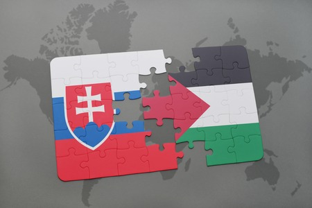 puzzle with the national flag of slovakia and palestine on a world map background. 3D illustration