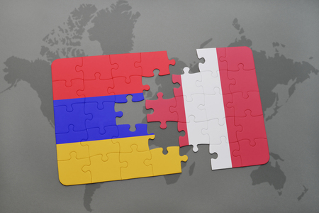 puzzle with the national flag of armenia and peru on a world map background. 3D illustration