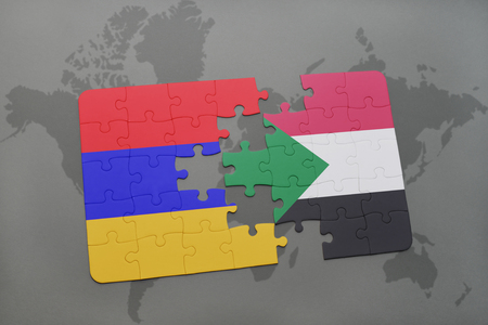 puzzle with the national flag of armenia and sudan on a world map background. 3D illustration Stock Photo