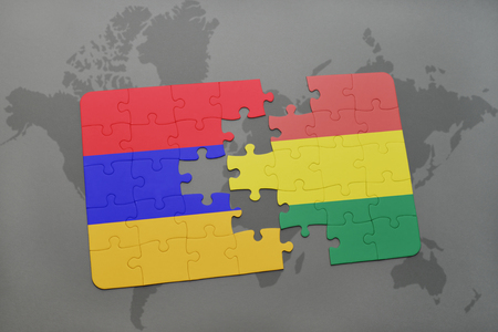 puzzle with the national flag of armenia and bolivia on a world map background. 3D illustration Imagens - 75487559