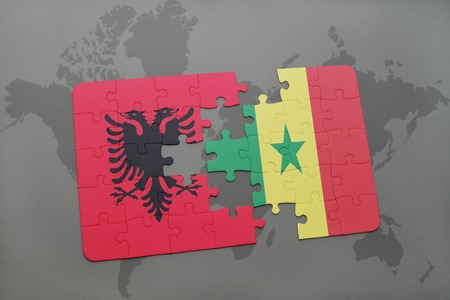 dakar: puzzle with the national flag of albania and senegal on a world map background. 3D illustration