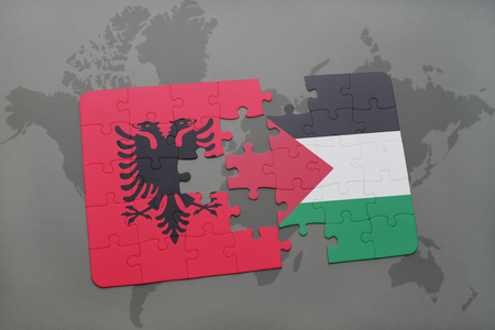 puzzle with the national flag of albania and palestine on a world map background. 3D illustration Stock Photo