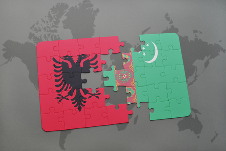 puzzle with the national flag of albania and turkmenistan on a world map background. 3D illustration Stock Photo