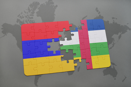 puzzle with the national flag of armenia and central african republic on a world map background. 3D illustration