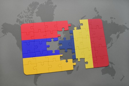 puzzle with the national flag of armenia and chad on a world map background. 3D illustration Stock Photo