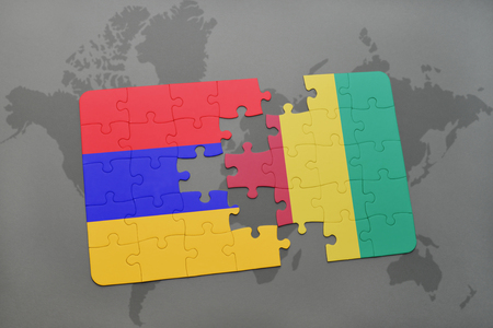 Puzzle with the national flag of armenia and guinea on a world illustration puzzle with the national flag of armenia and guinea on a world map background 3d illustration gumiabroncs Image collections