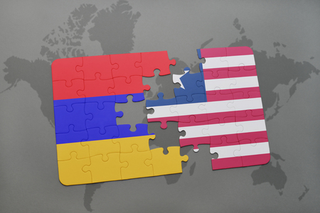armenian: puzzle with the national flag of armenia and liberia on a world map background. 3D illustration Stock Photo