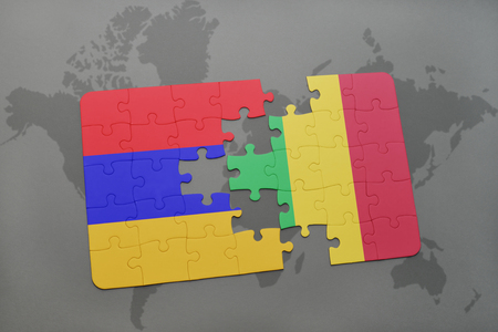 armenian: puzzle with the national flag of armenia and mali on a world map background. 3D illustration