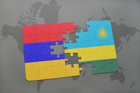 puzzle with the national flag of armenia and rwanda on a world map background. 3D illustration