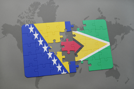 guyanese: puzzle with the national flag of bosnia and herzegovina and guyana on a world map background. 3D illustration