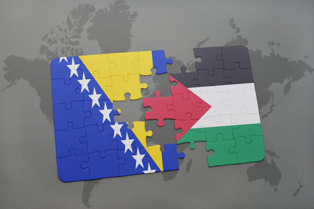 puzzle with the national flag of bosnia and herzegovina and palestine on a world map background. 3D illustration