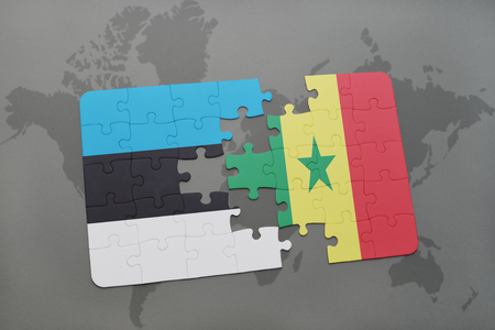 dakar: puzzle with the national flag of estonia and senegal on a world map background. 3D illustration