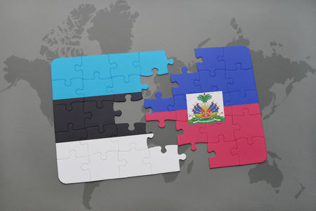 haitian: puzzle with the national flag of estonia and haiti on a world map background. 3D illustration