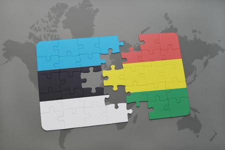 puzzle with the national flag of estonia and bolivia on a world map background. 3D illustration