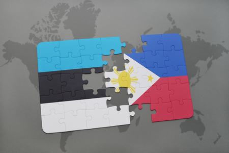 manila: puzzle with the national flag of estonia and philippines on a world map background. 3D illustration