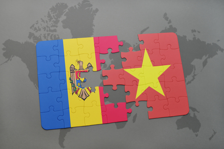 puzzle with the national flag of moldova and vietnam on a world map background. 3D illustration