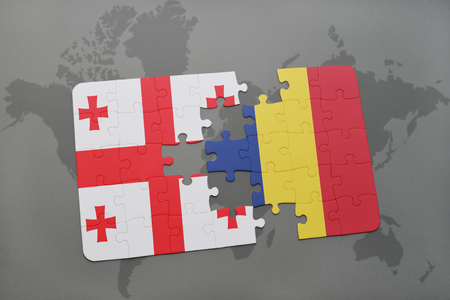 puzzle with the national flag of georgia and chad on a world map background. 3D illustration