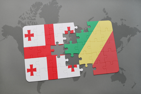 puzzle with the national flag of georgia and republic of the congo on a world map background. 3D illustration