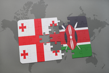 puzzle with the national flag of georgia and kenya on a world map background. 3D illustration