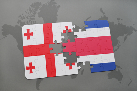 georgian: puzzle with the national flag of georgia and costa rica on a world map background. 3D illustration