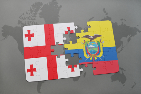 puzzle with the national flag of georgia and ecuador on a world map background. 3D illustration Stock Photo