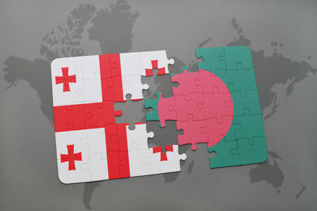 puzzle with the national flag of georgia and bangladesh on a world map background. 3D illustration