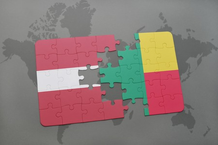 puzzle with the national flag of latvia and benin on a world map background. 3D illustration